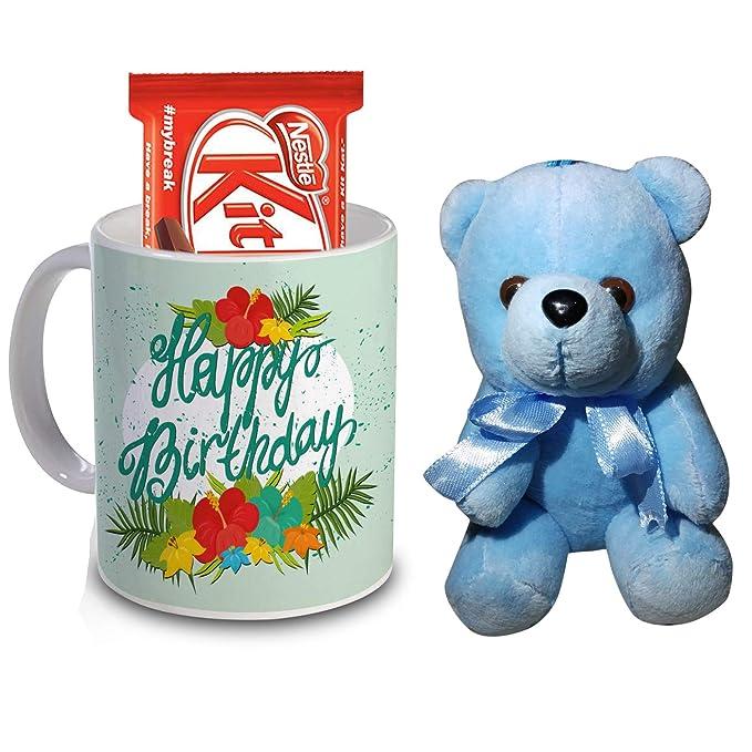 R B Store Happy Birthday Gifts Printed Ceramic Mug Sky Blue Teddy And Chocolate Gift Combo
