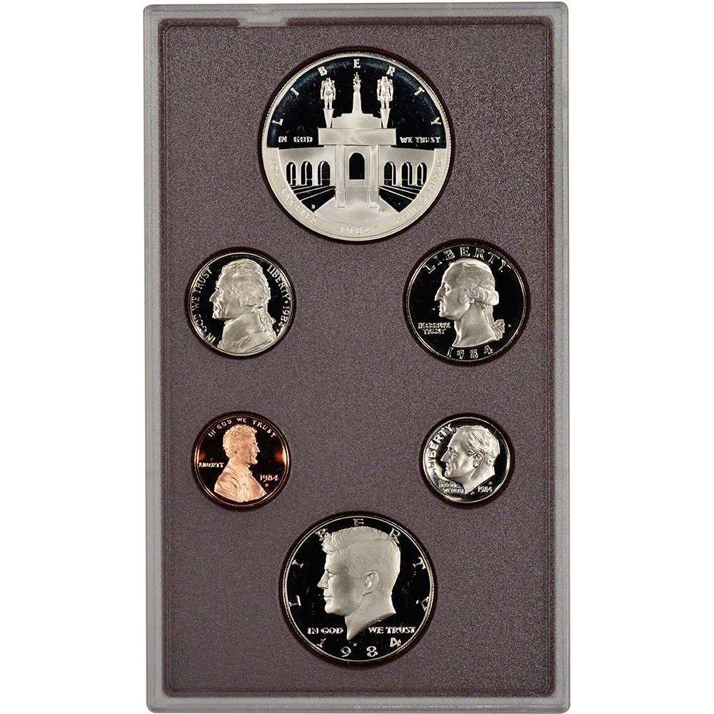 1984 US Mint Prestige Proof Set Original Government Packaging with Silver Olympic Dollar Proof