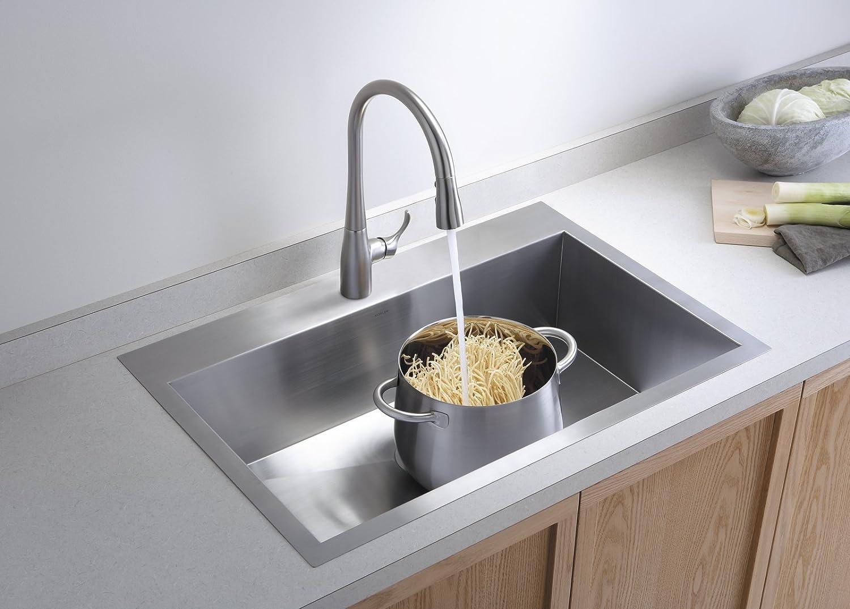 Kohler k 3821 4 na vault large single kitchen sink with four hole kohler k 3821 4 na vault large single kitchen sink with four hole faucet drilling single bowl sinks amazon workwithnaturefo