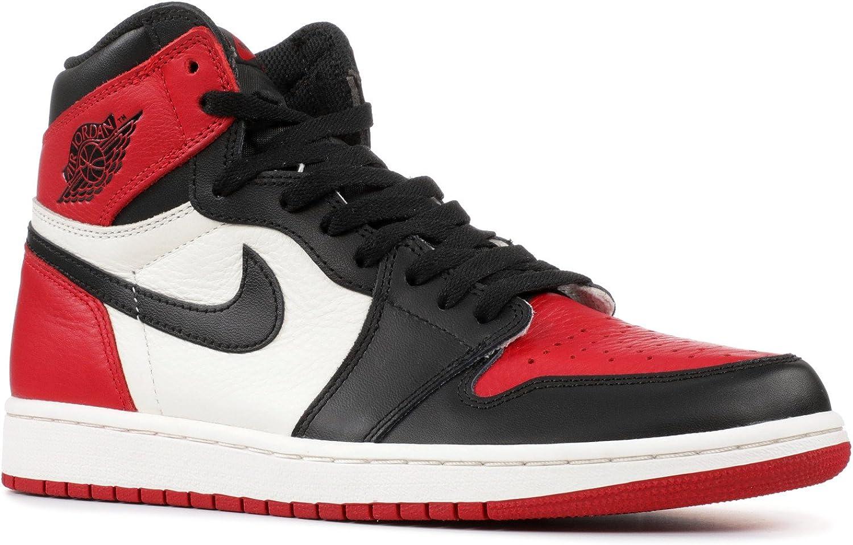 Amazon Com Nike Mens Air Jordan 1 Retro High Og Bred Toe Red
