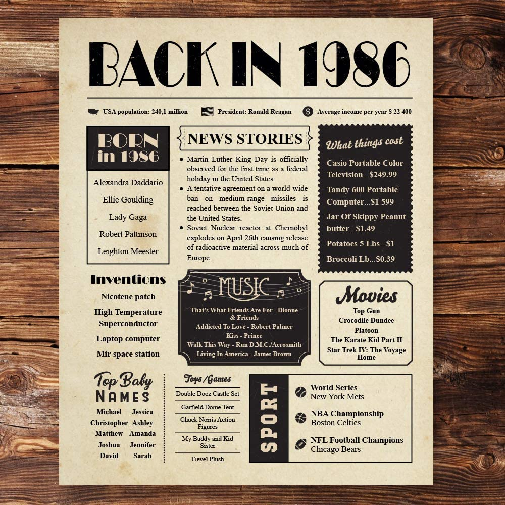 Back in 1986 Vintage Newspaper Poster Unframed 8x10 // 34th Birthday Gifts for Women, Men - Gift Ideas for 34 Year Old Man, Woman Under 10 Dollars - Birthday Decorations for Mom, Dad, Wife, Husband