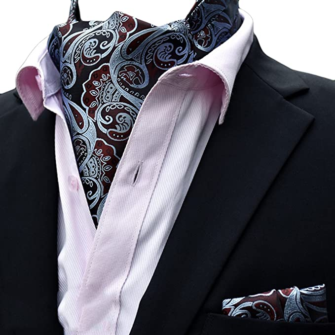 139287a88f91 Amazon.com: MOHSLEE Men Luxury Paisley Floral Cravat Tie Woven Silk Self  Ascot and Hanky Set: Clothing