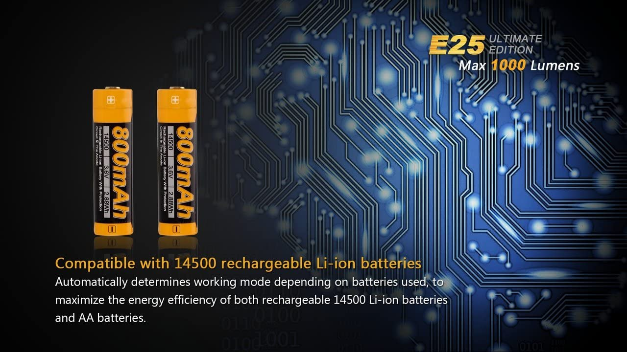 Charger /& Two AA Alkaline batteries E35E2 E25UE 1000 lumen CREE XP-L LED Flashlight with two NiMH rechargeable AA Batteries EdisonBright Fenix E25 Ultimate edition