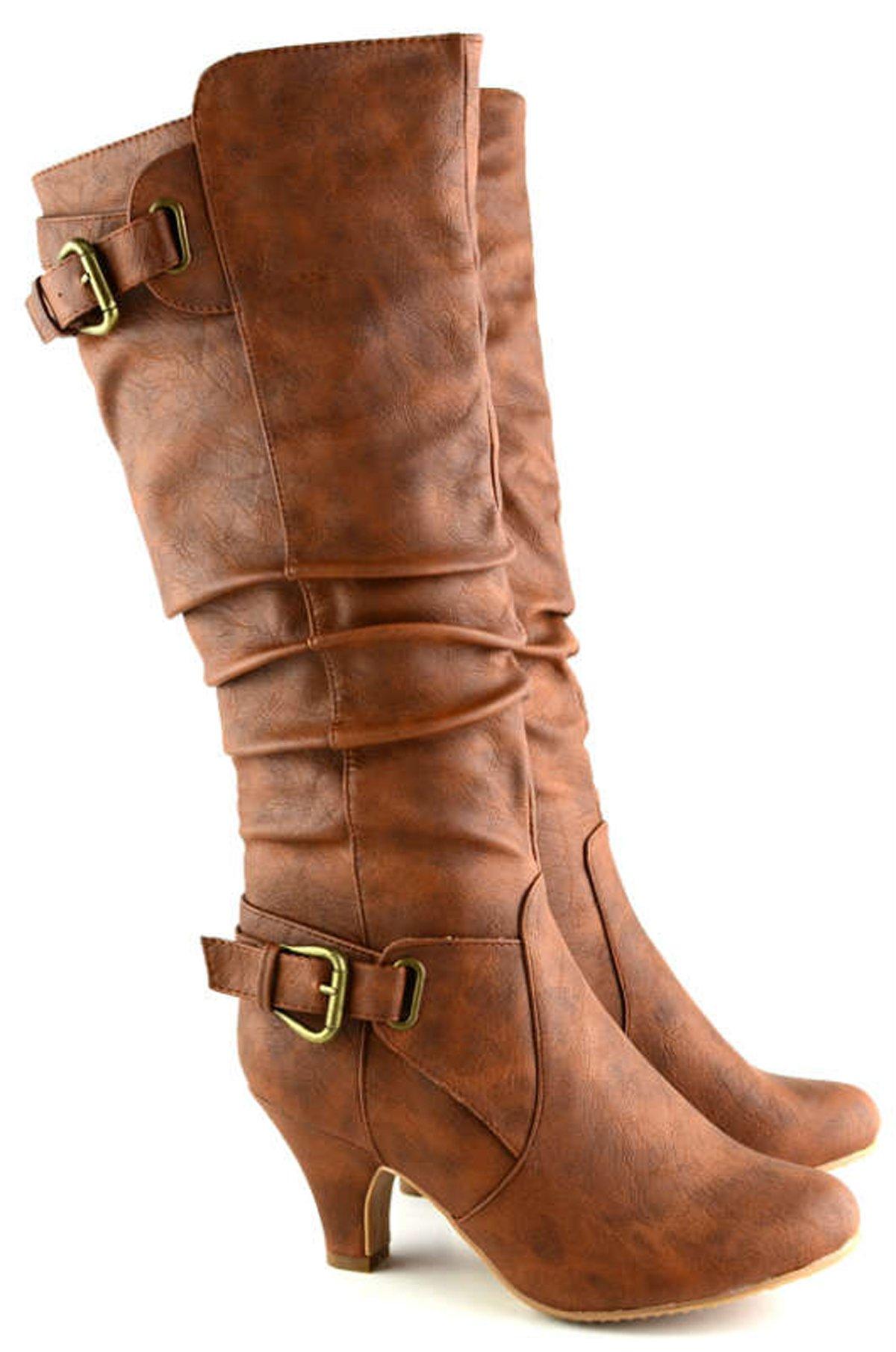 Top Moda Adjustable Calf Buckle Zipper Mid-calf Boots Tmbag-55 Tan (9)