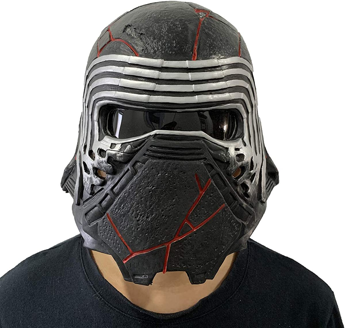Amazon Com Zmj Kylo Ren Helmet Mask The Rise Of Skywalker Latex Full Face Costume Props Cosplay Accessories Black Clothing