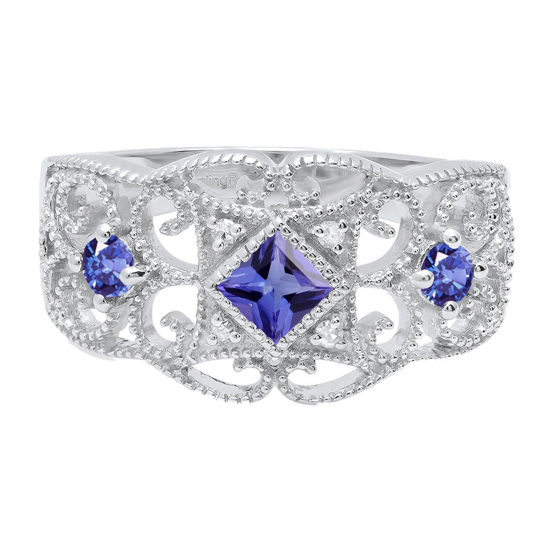 Dazzlingrock Collection Round /& Princess Gemstone /& Round Diamond Ladies Engagement Ring Sterling Silver