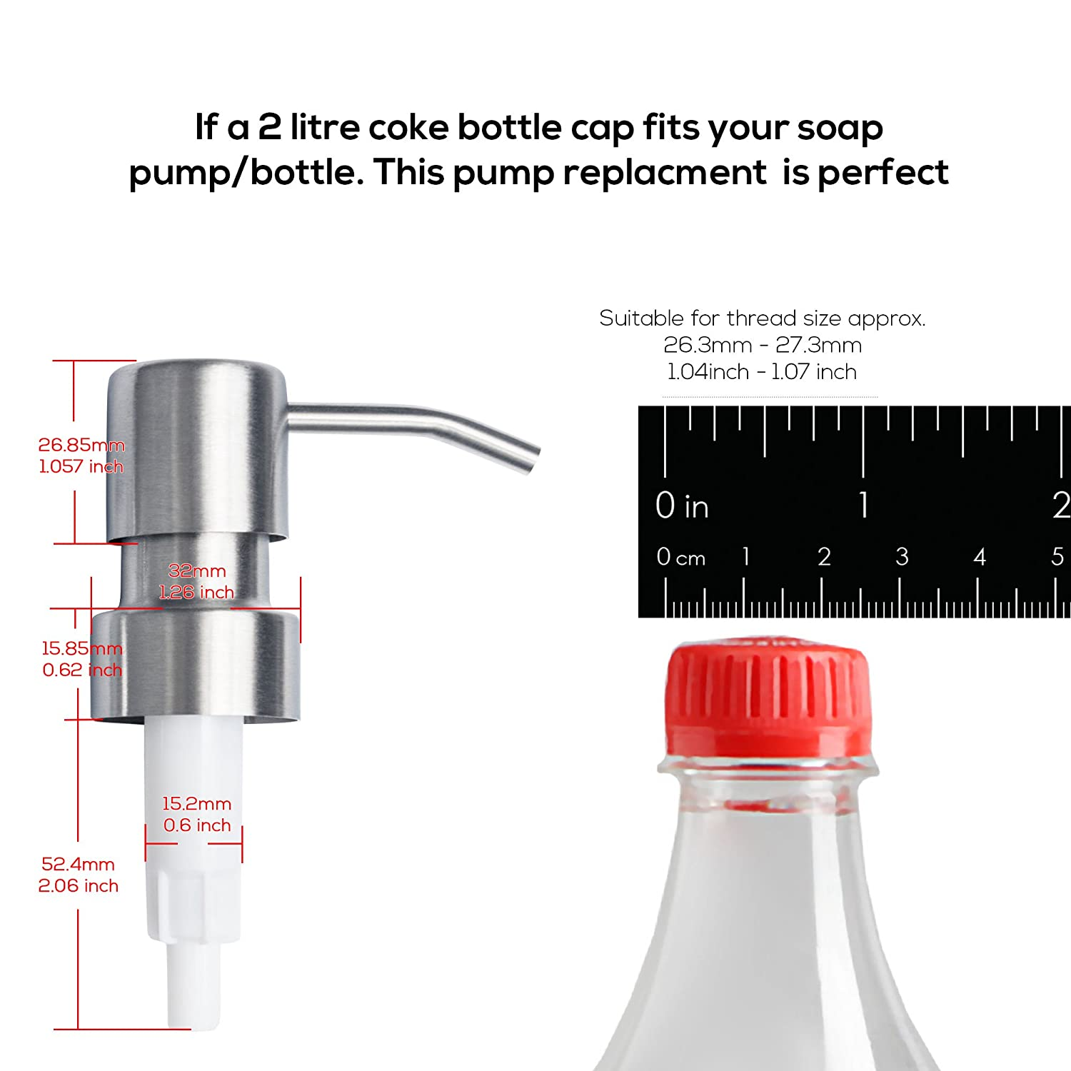 Top Home Store Stainless Steel Soap and Lotion Dispenser Pumps, 1 Piece,  Replacement for Your Bottles, Includes 1 Nine Inch Tubes (1 Pack)