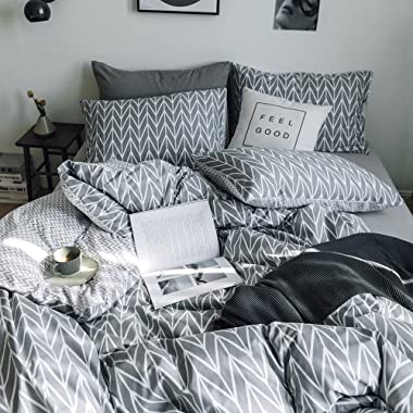 Reversible Geometric Pattern Duvet Cover Set King 3 Pieces 100 Percent Cotton Soft Bedding Cover Set with Zipper Closure Gray Chevron Striped Modern Comforter Cover Set King Size,4 Corner Ties