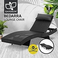 Gardeon Sun Lounge Outdoor Furniture Rattan Chair Bed Wicker-Black