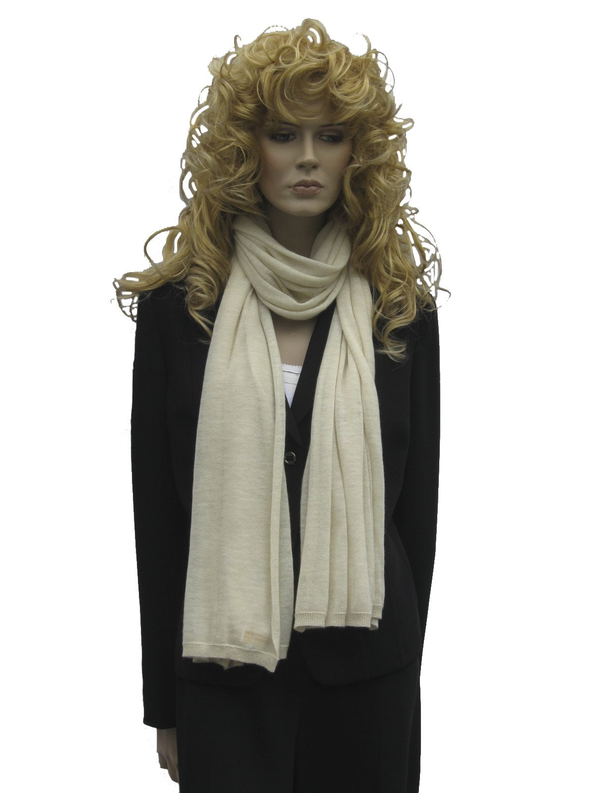 Cashmere Pashmina Group: Cashmere Scarf Shawl Stole Wrap (Sweater Knit Cashmere Shawl) Ivory by Cashmere Pashmina Group