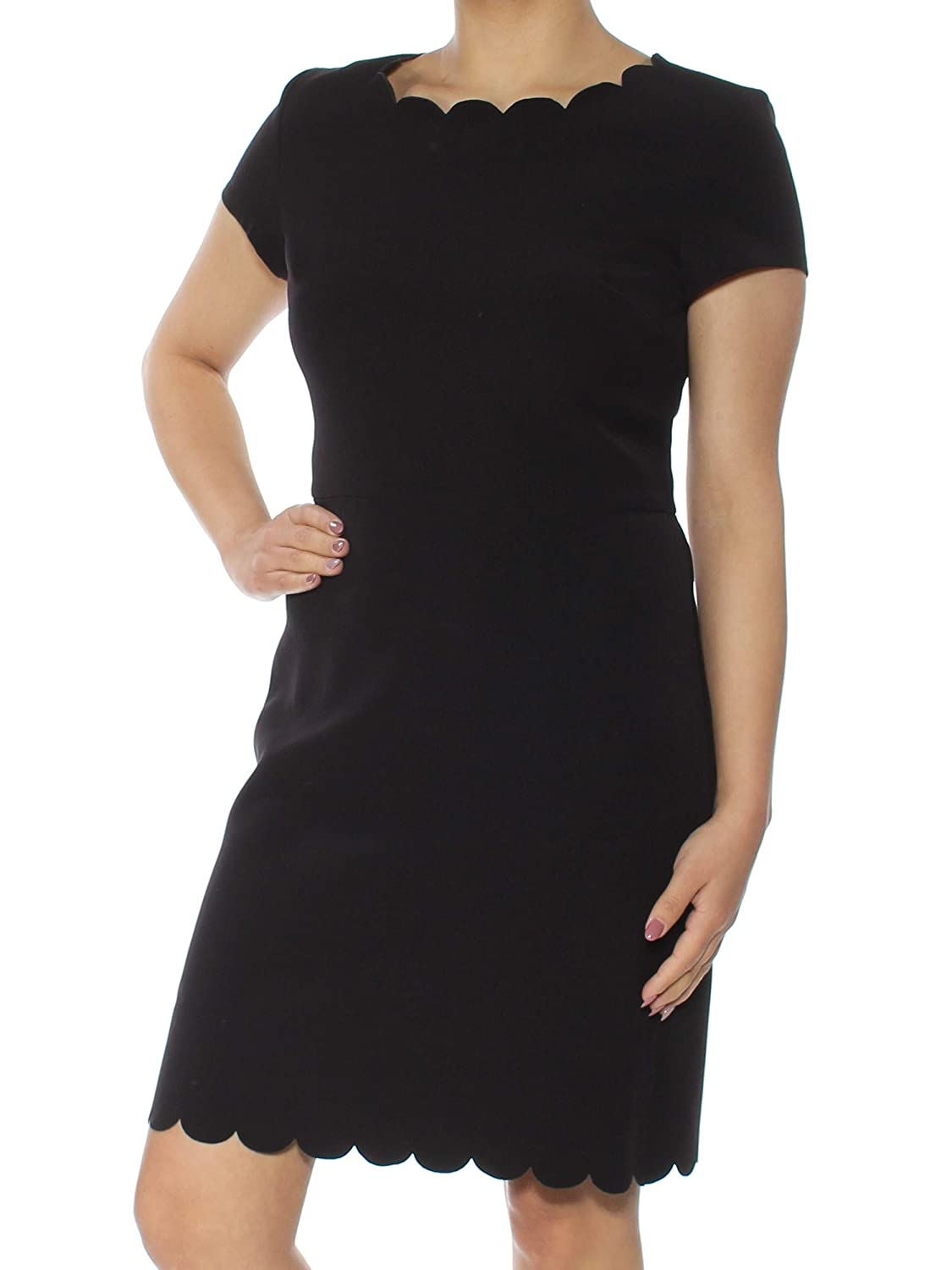 Deepblack Maison Jules Womens Scalloped Shift Dress