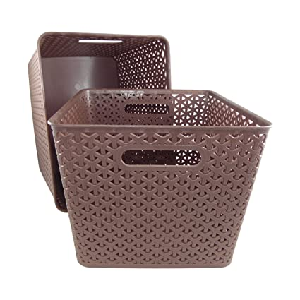 Basket Weave Plastic Storage Bin Set of 2 (13.75 x 11 x 9 Brown  sc 1 st  Amazon.com & Amazon.com: Basket Weave Plastic Storage Bin Set of 2 (13.75 x 11 x ...