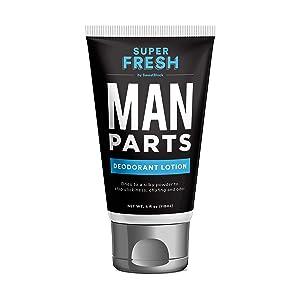 Super Fresh Man Parts Ball Deodorant by SweatBlock. Talc-Free Hygiene lotion-to-powder cream for fresh balls & body. Stops stickiness and odor, 4 fl oz tube