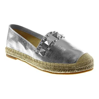 gamme complète d'articles chaussures de tempérament vente chaude Angkorly - Chaussure Mode Espadrille Slip-on Femme clouté ...