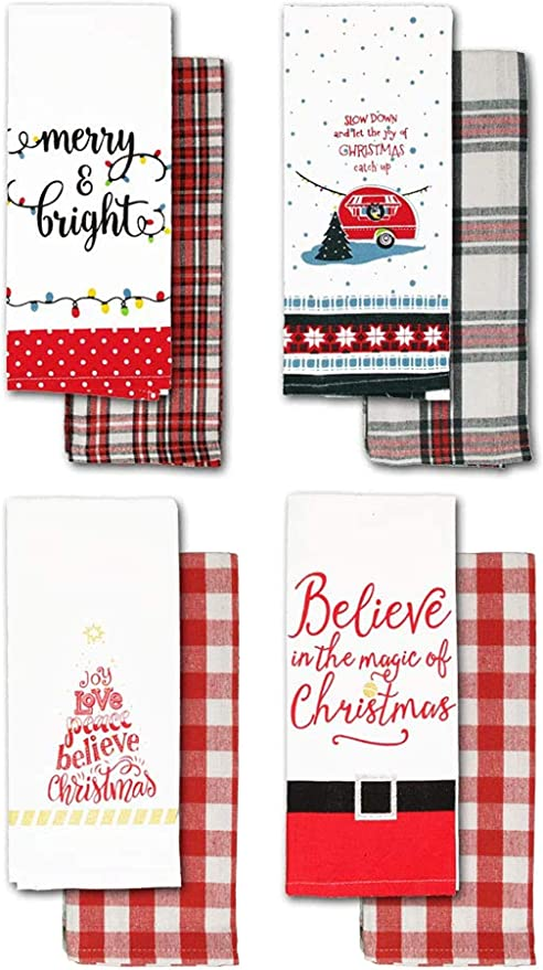 Christmas Kitchen Towels Funny Holiday Tea Towels With Checked Kitchen Towels 8 Flour Bags Amazon De Home Kitchen