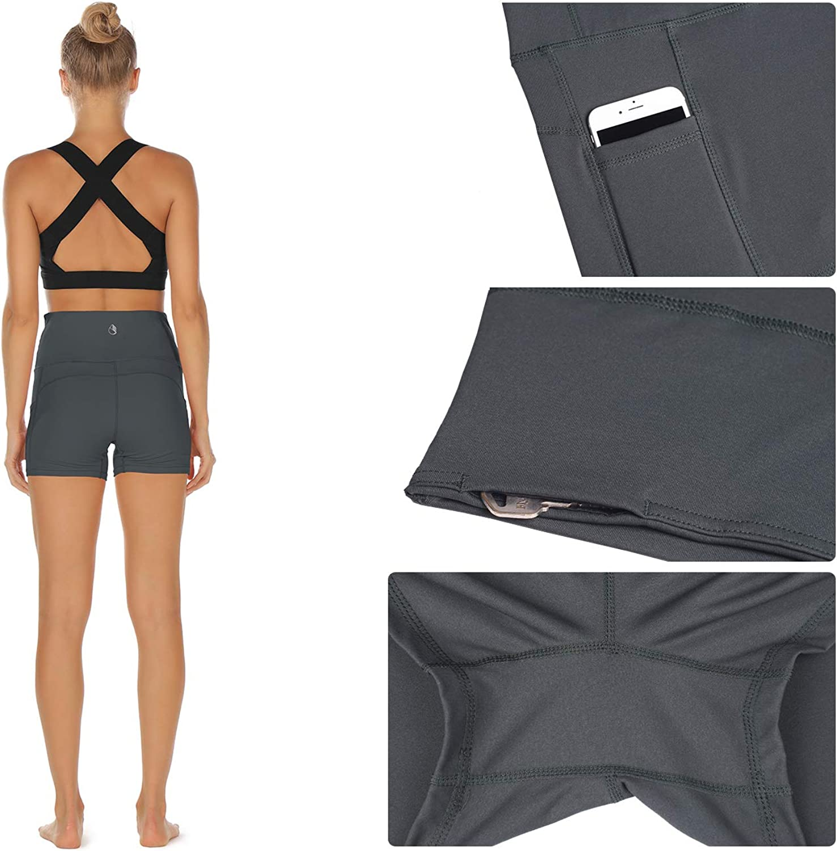 Yoga Exercise Athletic Shorts Capris icyzone Workout Running Shorts for Women