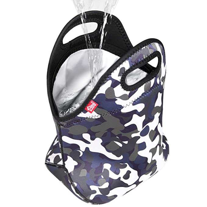 Camouflage 100% Waterproof Double Layer Leakproof Neoprene Insulated Reusable Thermal Lunch Cooler Lightweight Zippered Tote for Adult or Kids