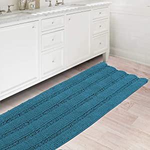Bath Rugs Ultra Thick and Soft Texture Bath Mat Chenille Plush Striped Floor Mats Hand Tufted Bath Rug with Non-Slip Backing Door Mat for Kitchen/Entryway (Turquoise Blue - 47