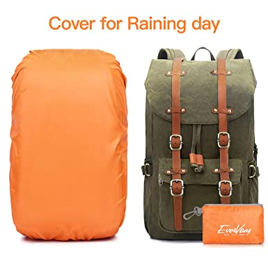 Amazon.com: EverVanz Outdoor Canvas Leather Backpack, Travel Hiking Camping Rucksack Pack, Large Casual Daypack, College School Backpack, Shoulder Bags Fits ...