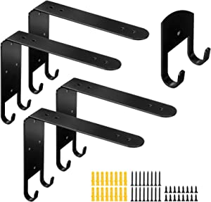 AGSIVO Heavy Duty Shelf Brackets with Hook 8 Inch Black Iron Metal Shelf Brackets 4pcs, Decorative Rustic L Brackets for DIY Open Shelving, Industrial Home Wall Decor