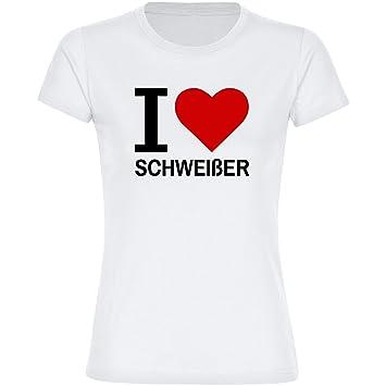 Camiseta de manga corta para mujer de colour blanco de soldador I Love Classic talla S hasta 2XL: Amazon.es: Deportes y aire libre