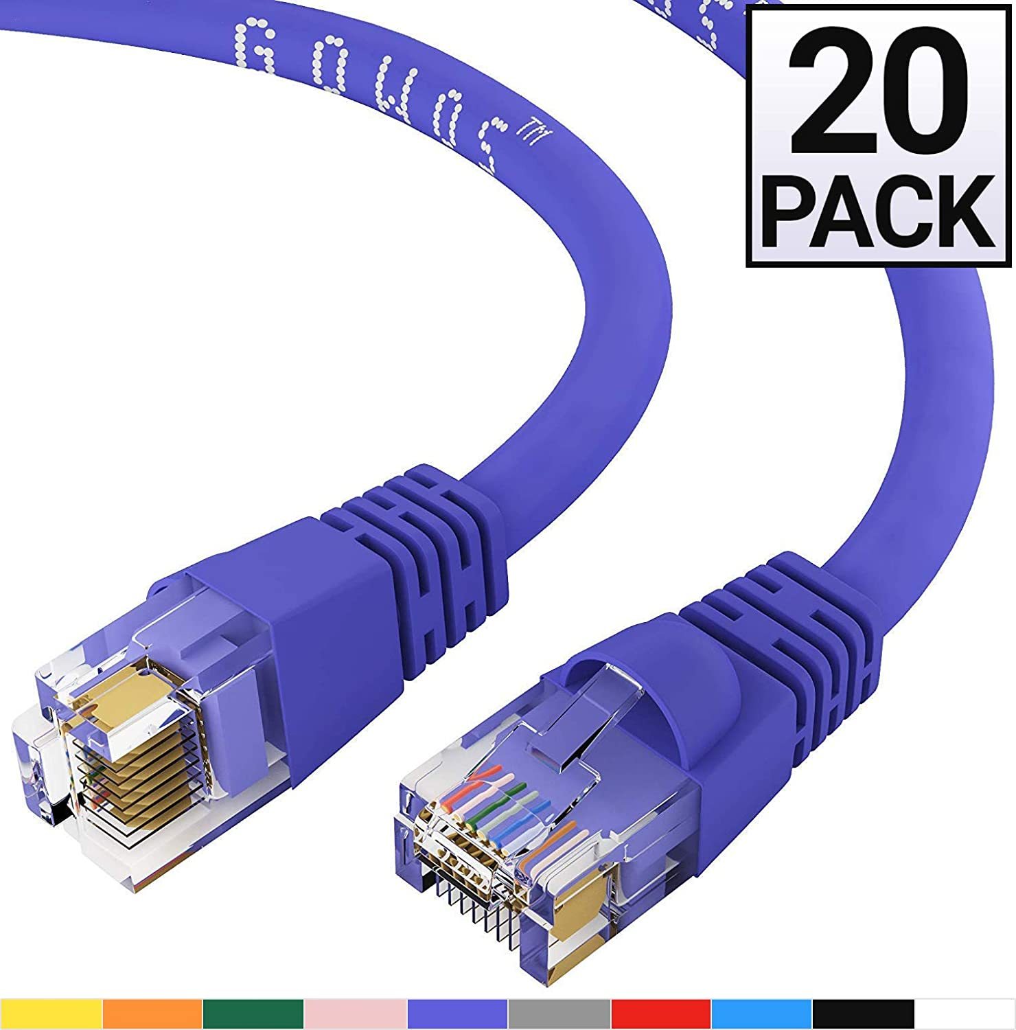 Blue 1Gigabit//Sec High Speed LAN Internet//Patch Cable GOWOS Cat5e Ethernet Cable 24AWG Network Cable with Gold Plated RJ45 Snagless//Molded//Booted Connector 350MHz 10-Pack - 30 Feet