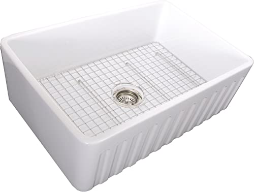 Nantucket Sinks 33 Inch Reversible Fireclay Farmhouse Sink with Grid