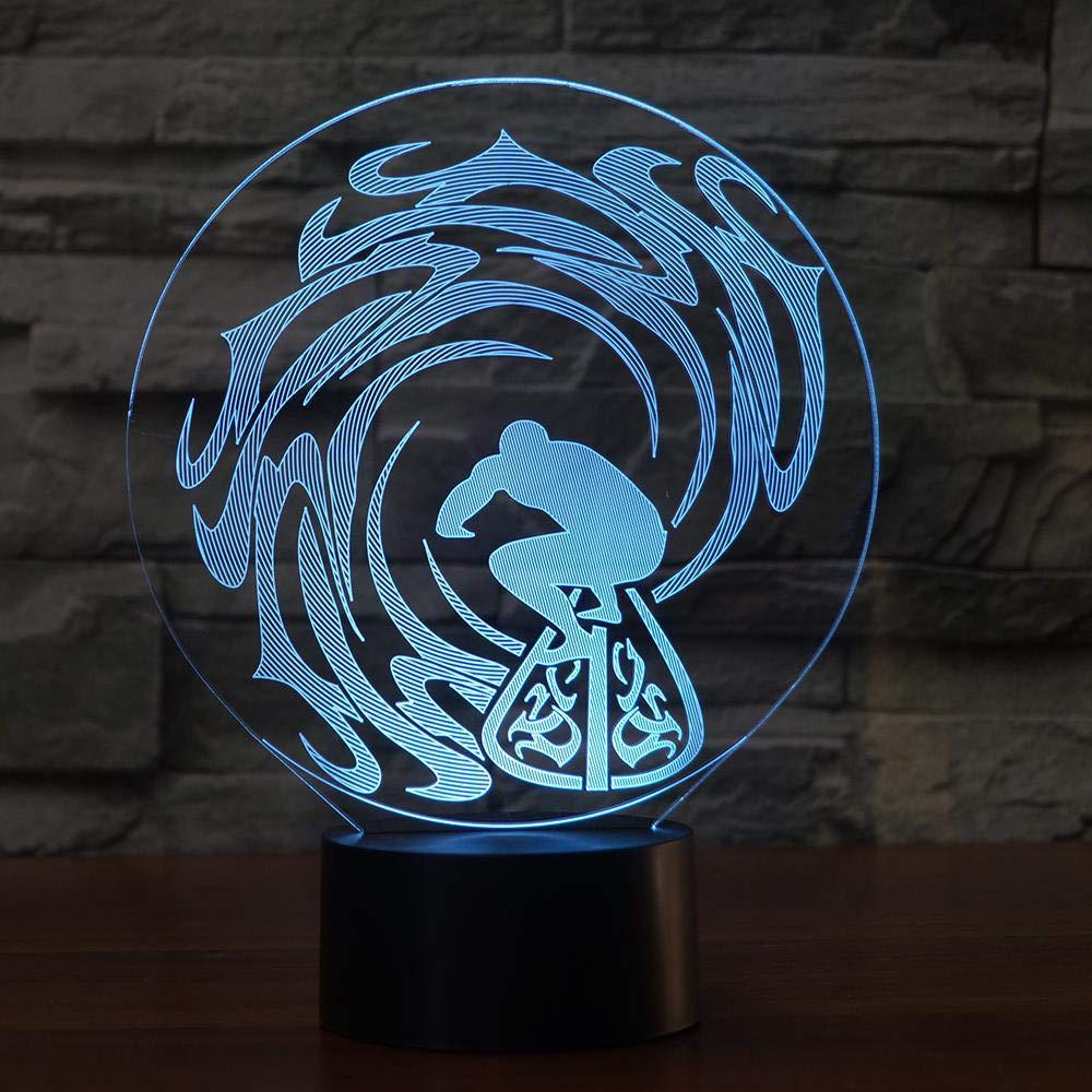 7 farben ändern nachtlicht wohnkultur 3d led stilvolle surfen modellierung tischlampe schlafzimmer nachttischlampe lampara leuchte geschenke