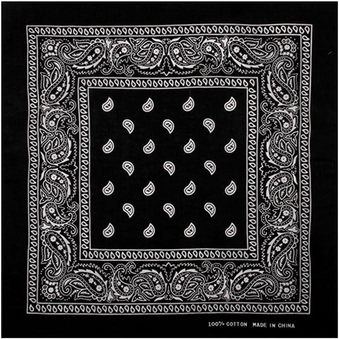 1 x Bandana Schwarz Paisley Kopftuch Tuch 100/% Baumwolle Halstuch Nickituch