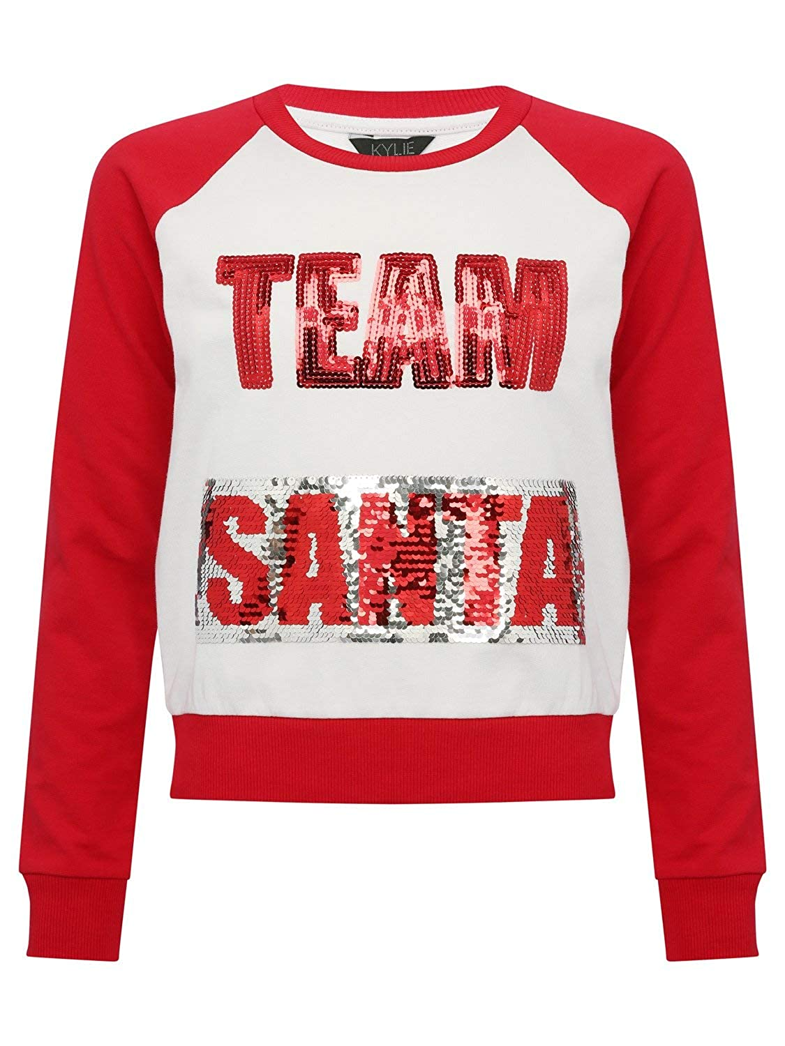 M& Co Teen Girls Long Sleeve Team Santa Elf Two Way Sequin Embellished Christmas Sweatshirt