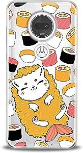 Anreda TPU Case Compatible with Motorola Moto G9 G8 G7 Play P40 Z4 Edge G6 E5 E7 Smooth Print Food Women Design Cat Sushi Pattern Kids Kawaii Fish Slim fit Cover Cute Cute Soft Flexible Girls Clear