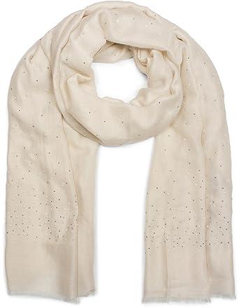 5108e561efa3 styleBREAKER Écharpe unie avec strass et perles sur toute la surface,  franges, foulard,