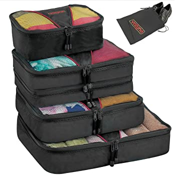 971c07a55f19 Valyne Packing Cubes 4-pcs Set, Luggage Travel Organizer Bags with a Free  Laundry/shoe Bag (Medium Bag Double Compartment) (Black)