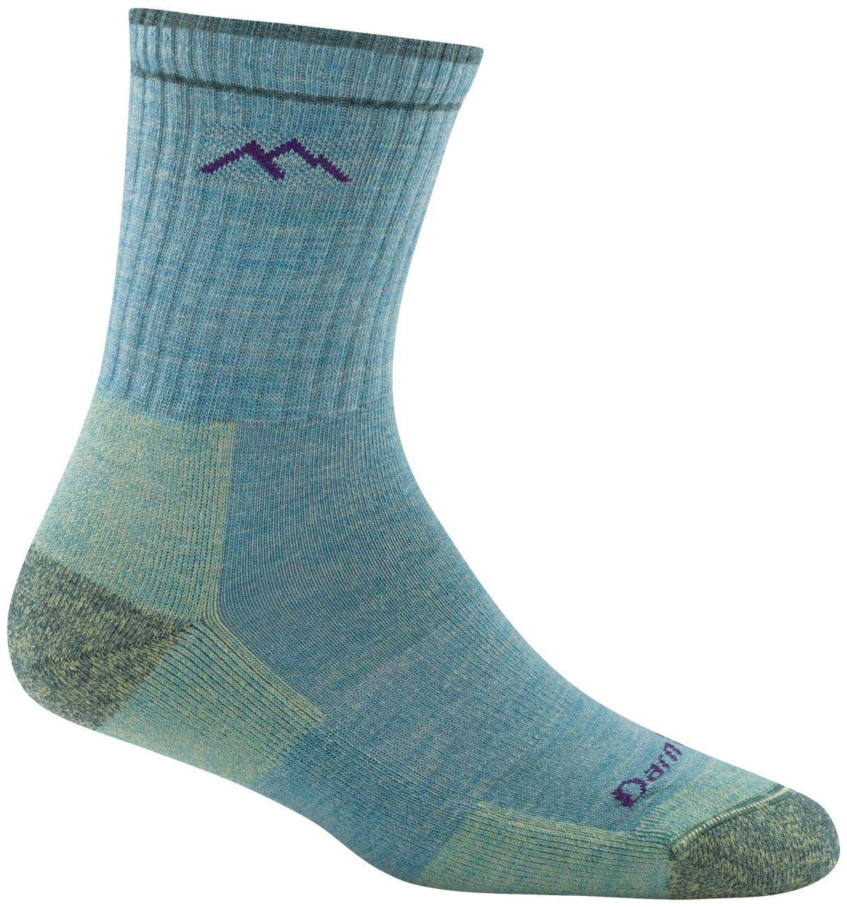 Darn Tough Hiker Micro Crew Cushion Socks - Women's Aqua Heather Medium by Darn Tough