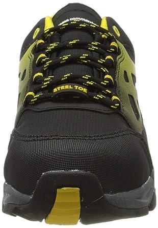 AmazonCommercial – Calzado de seguridad con puntera de acero para hombre y mujer, zapatillas protectoras para la industria, zapatillas de trabajo para la construcción, negro/amarillo, talla 41: Amazon.es: Industria, empresas y ciencia