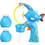 Mega Bubble Shooter Gun w/ Extra-Large Bubble Action | Exciting Sound Effects and Catchy Music | Bubble Solution Fluid Included | Durable Light Up Bubble Blaster | Great Summer Outdoor Toy (Pack of 1)