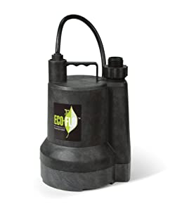 ECO-FLO Products SUP55 Manual Submersible Utility Pump, 1/4 HP, 1,980 GPH