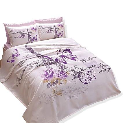 6de5deb0e7fdbd Image Unavailable. Image not available for. Color: 100% Turkish Cotton  Paris Eiffel Tower Theme Themed Lilac Butterfly Full Double Queen Size Pique