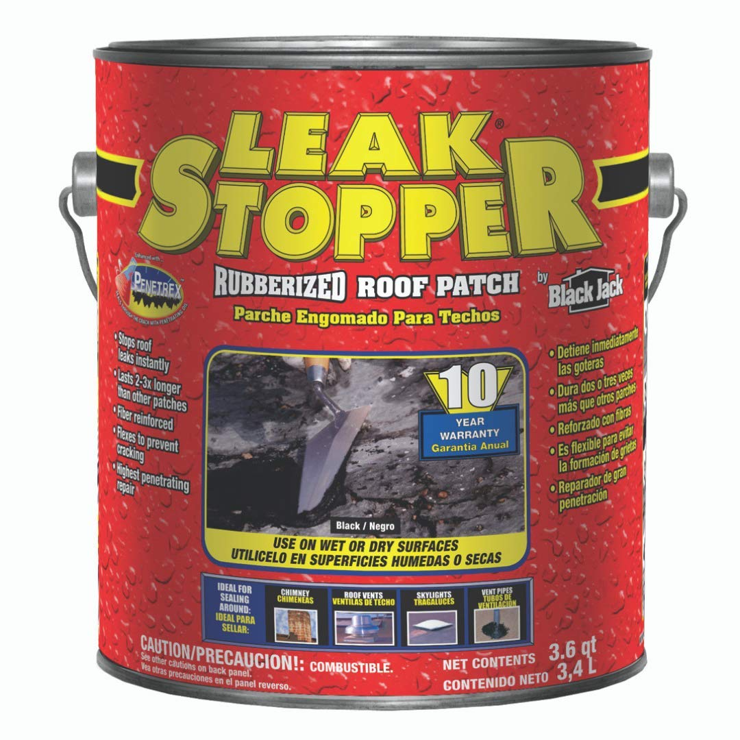 Leak Stopper Rubberized Roof Patch 1 Gallon   100 % Flexible Instant Sealant for Built-Up Roofs, SBS Modified Roofs, Metal Roofs & Many Other Surfaces   10 Years Warranty   Black   by Gardner
