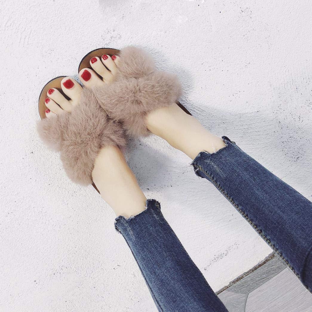 S/&H-NEEDRA Femmes Fluffy Fausse Fourrure Int/éRieur Ext/éRieur Sandales /À Talons Plat Slipper D/éContract/éEs Chaussures