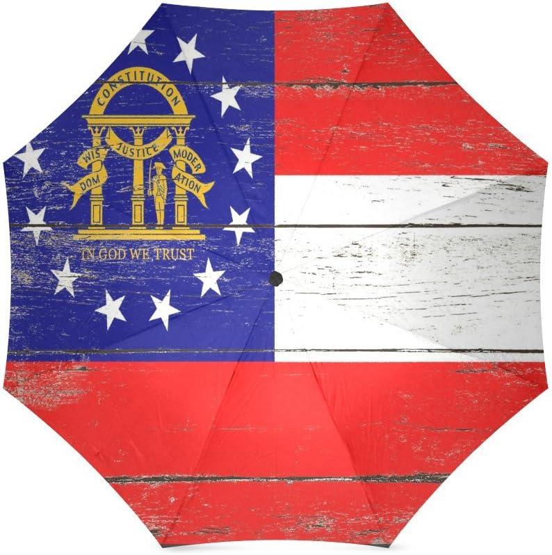 American US USA State Georgia Flag Compact Foldable Rainproof Windproof Travel Umbrella