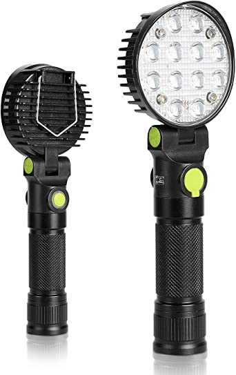 DAMULY LED Work Light Magnetic flashligh 18650 Rechargeable Portable Hand Held