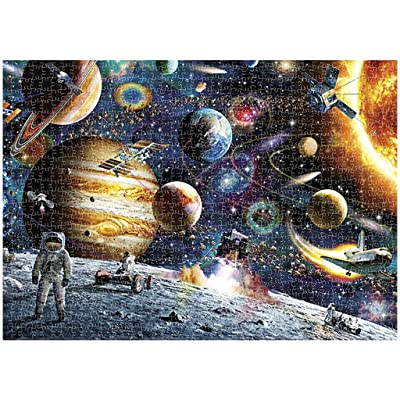 LLYWEY Space Puzzle Jigsaw Puzzles for Grown Ups 1000 Piece Jigsaw Puzzles for Adults Planets in Space Jigsaw Floor Puzzle - Hand Made Puzzles Gift Decompression Game Difficulty Funny: Toys & Games
