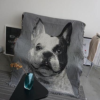 Mantas suaves Algodón Individual Manta de perro mascota Manta de sofá Manta de oficina Manta de ...