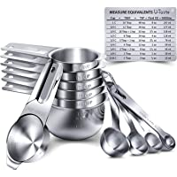 U-Taste Measuring Cups And Spoons Set Of 15 In 18/8 Stainless Steel : 7 Cups And 7 Measuring Spoons With 2 D-Rings And 1…