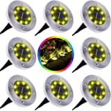Yakalla Solar Ground Lights, Upgraded Outdoor Garden Waterproof Bright in-Ground Lights for Lawn Pathway Yard Driveway, with 8 LED Warm White Lights(8 Pcs)