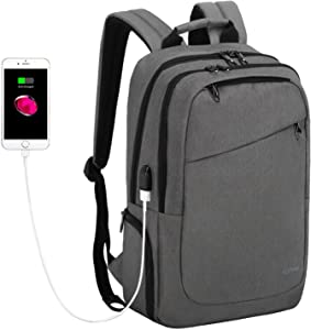 KUPRINE Laptop Backpack, Travel Laptop Backpack with USB Charging Port, Water Resistant College School Bookbag, 15.6 Inch Business Anti Theft Computer Bag Gifts for Men & Women, Grey