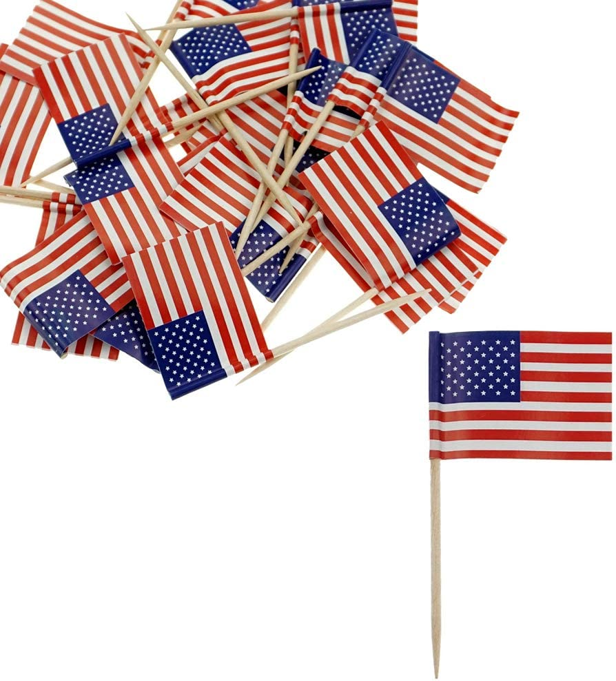 American Flag Toothpicks USA CakeFlagTopper Country Toothpick Flags Picks for Party Favors Decorations Supplies, 150 Counts by Baryuefull