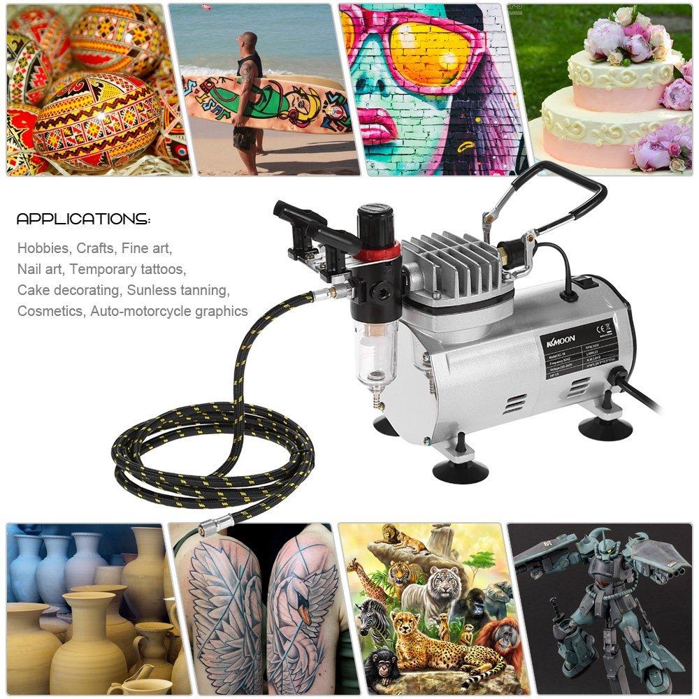 Brosse de Nettoyage 3 Airbrush Kit + Mini-Compresseur A/érographe Nylon Tuyau Tress/é Art Peinture dAlimentation w//pour Tatouage Temporaire//C/éramique Color/ée Compresseur A/érographe Kit