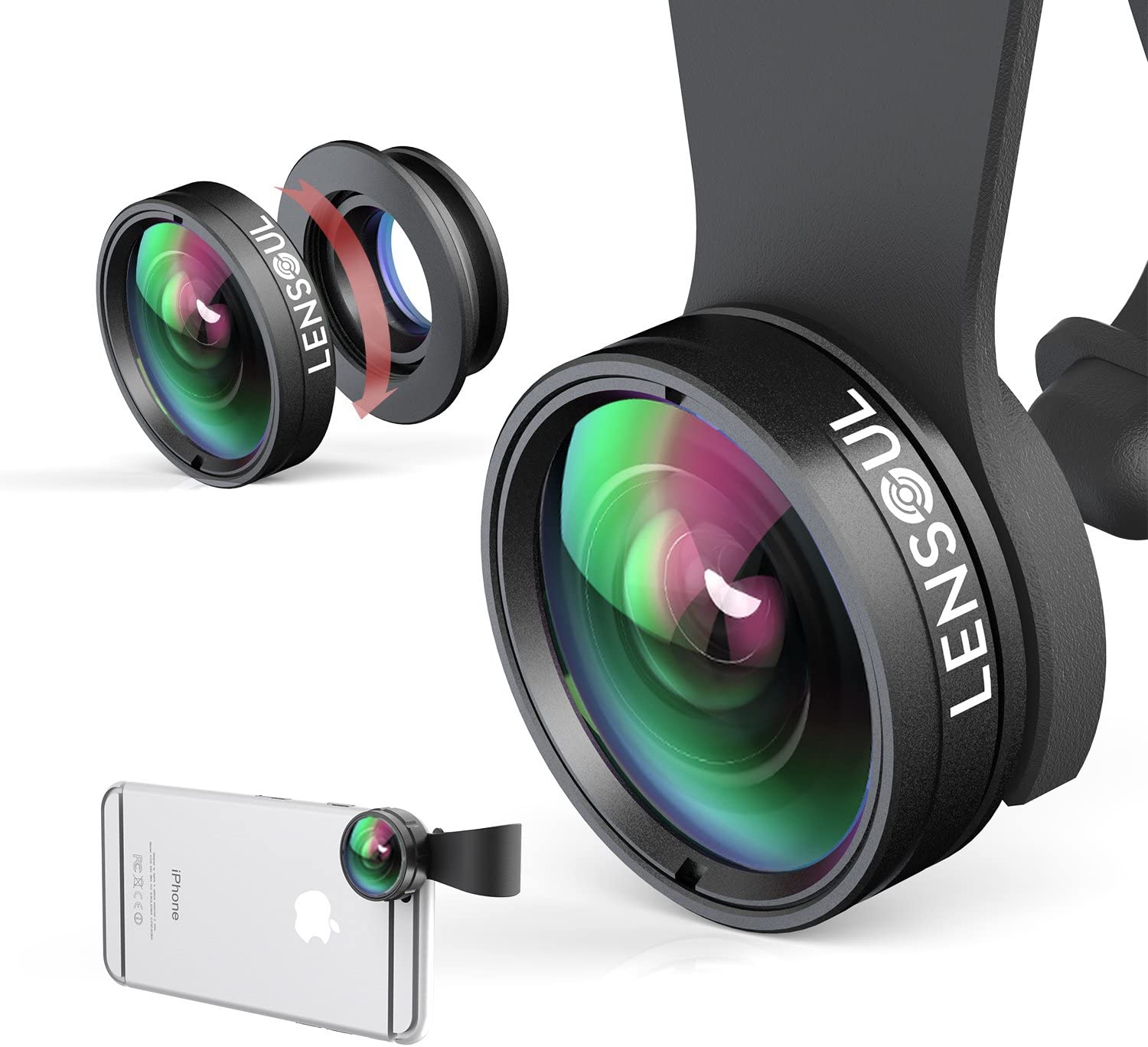 Gnc33Ouhen Mobile Phone Camera Lens Kit 3 in 1 Lens kit,Macro Super Wide Angle Fisheye Lens+Clip,Compatible with Most Android Phones and Smartphones Black